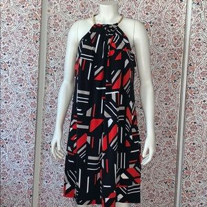 Calvin Klein printed red and black cocktail dress